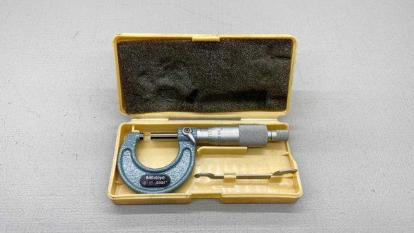 "Mitutoyo No 103-131 Micrometer 0-1"" - .0001"" Graduations In Good Condition IOB"