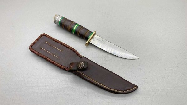 Bowie Knife Hand Made With Leather Sheath 230mm Long In Good Condition