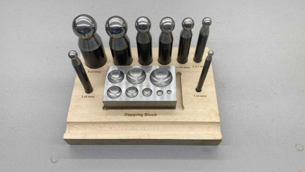 Jewellers Dapping Set With Punches And Block