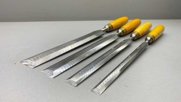 """Marples Bevel Edged Chisels Set Of Four 1 1/4"""" - 1"""" - 3/4"""" and 1/2"""" All around 370mm Long Mark In Top Condition"""