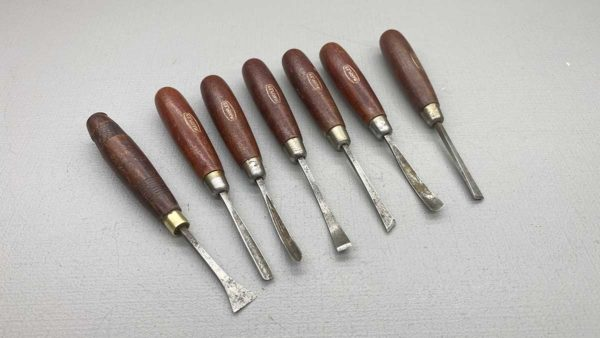 Marples Set Of 7 Hand Carving Chisels In Good Condition