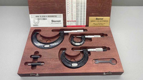 Starrett 3 Piece Micrometer Set In Top Condition