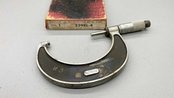 "Starrett 3-4"" No 239Rl-4 Micrometer IOB In Good Condition Ratchet Stop"